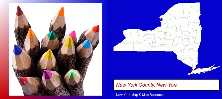 colored pencils; New York County, New York highlighted in red on a map