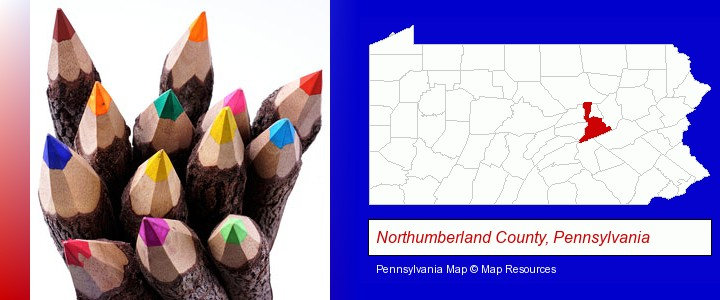 colored pencils; Northumberland County, Pennsylvania highlighted in red on a map