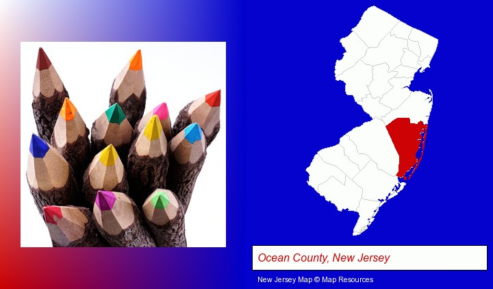 colored pencils; Ocean County, New Jersey highlighted in red on a map
