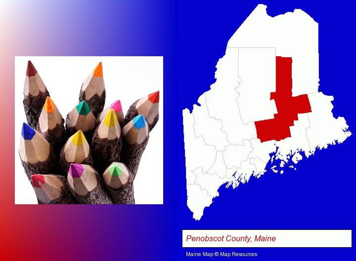 colored pencils; Penobscot County, Maine highlighted in red on a map