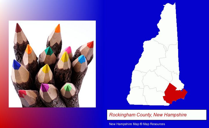colored pencils; Rockingham County, New Hampshire highlighted in red on a map