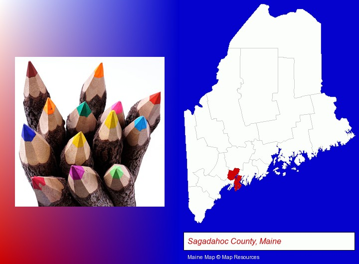 colored pencils; Sagadahoc County, Maine highlighted in red on a map