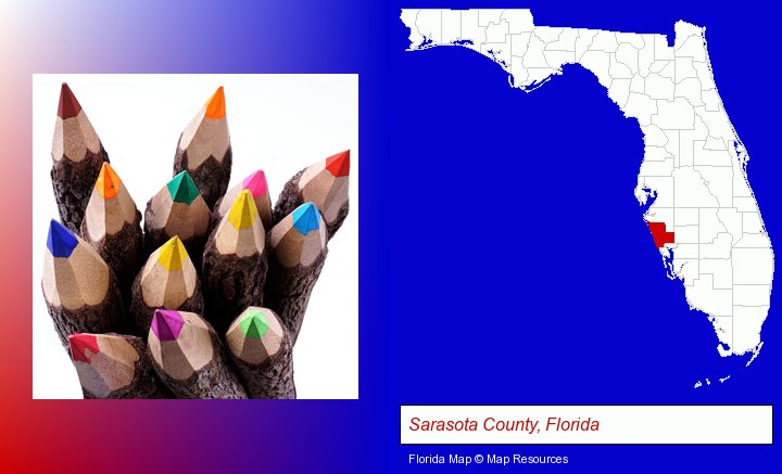 colored pencils; Sarasota County, Florida highlighted in red on a map