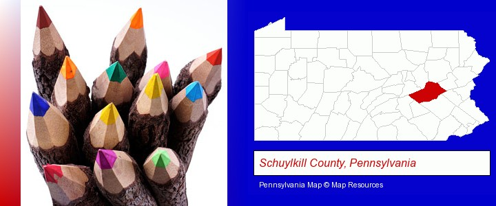 colored pencils; Schuylkill County, Pennsylvania highlighted in red on a map