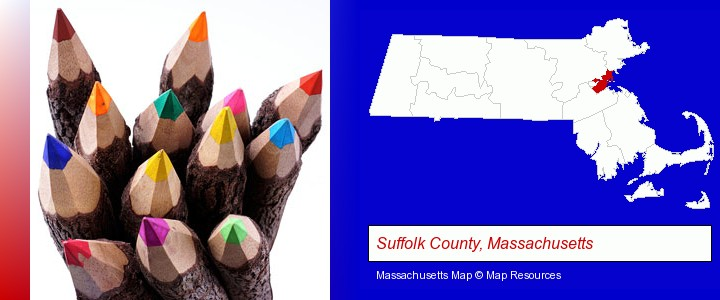 colored pencils; Suffolk County, Massachusetts highlighted in red on a map