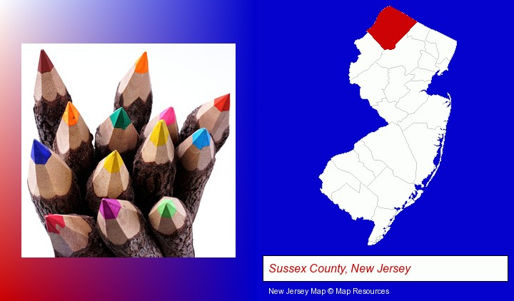 colored pencils; Sussex County, New Jersey highlighted in red on a map