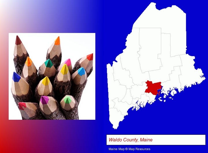colored pencils; Waldo County, Maine highlighted in red on a map