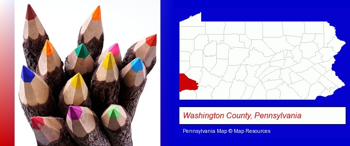 colored pencils; Washington County, Pennsylvania highlighted in red on a map