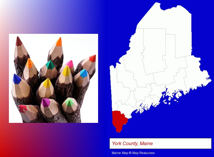 colored pencils; York County, Maine highlighted in red on a map